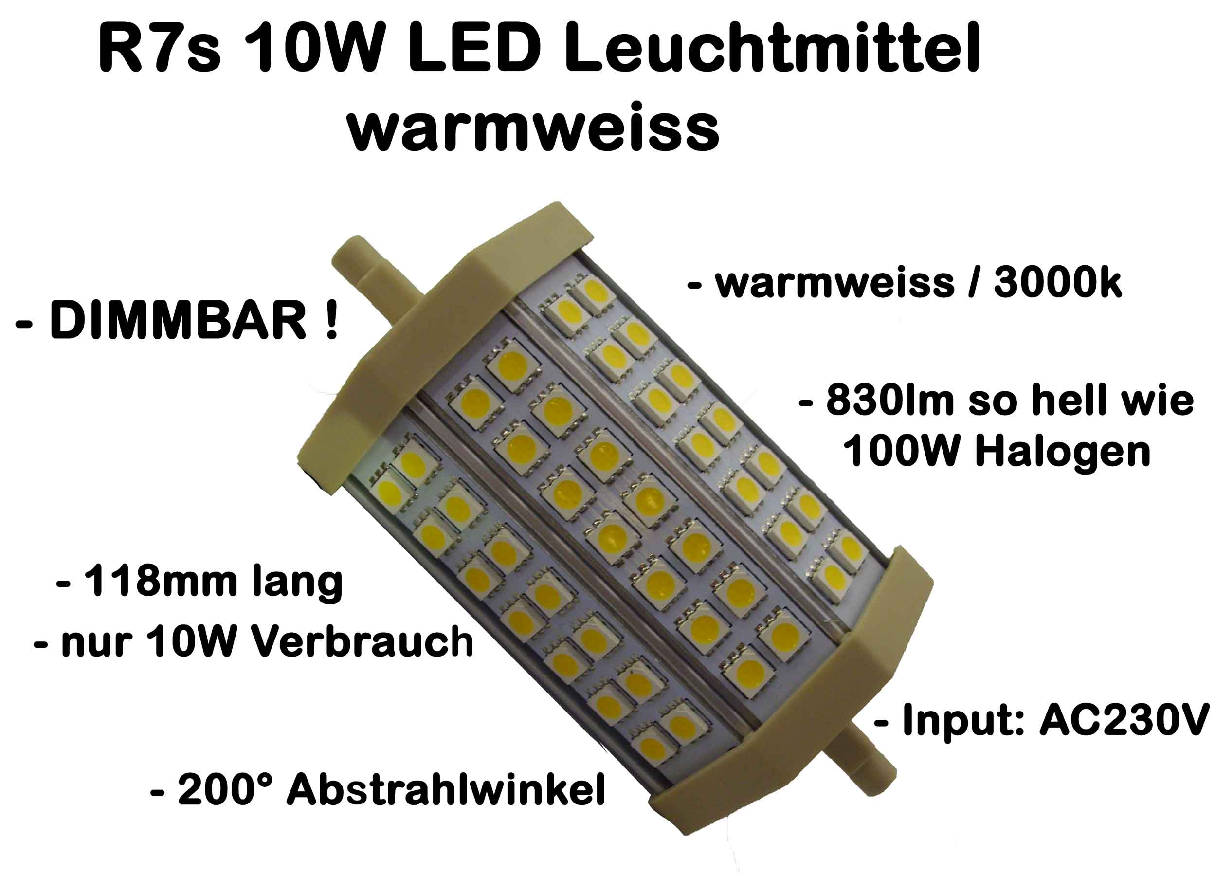 r7s 10w led 5730 118mm leuchtmittel strahler stab 830lm warmweiss ww dimmbar ebay. Black Bedroom Furniture Sets. Home Design Ideas