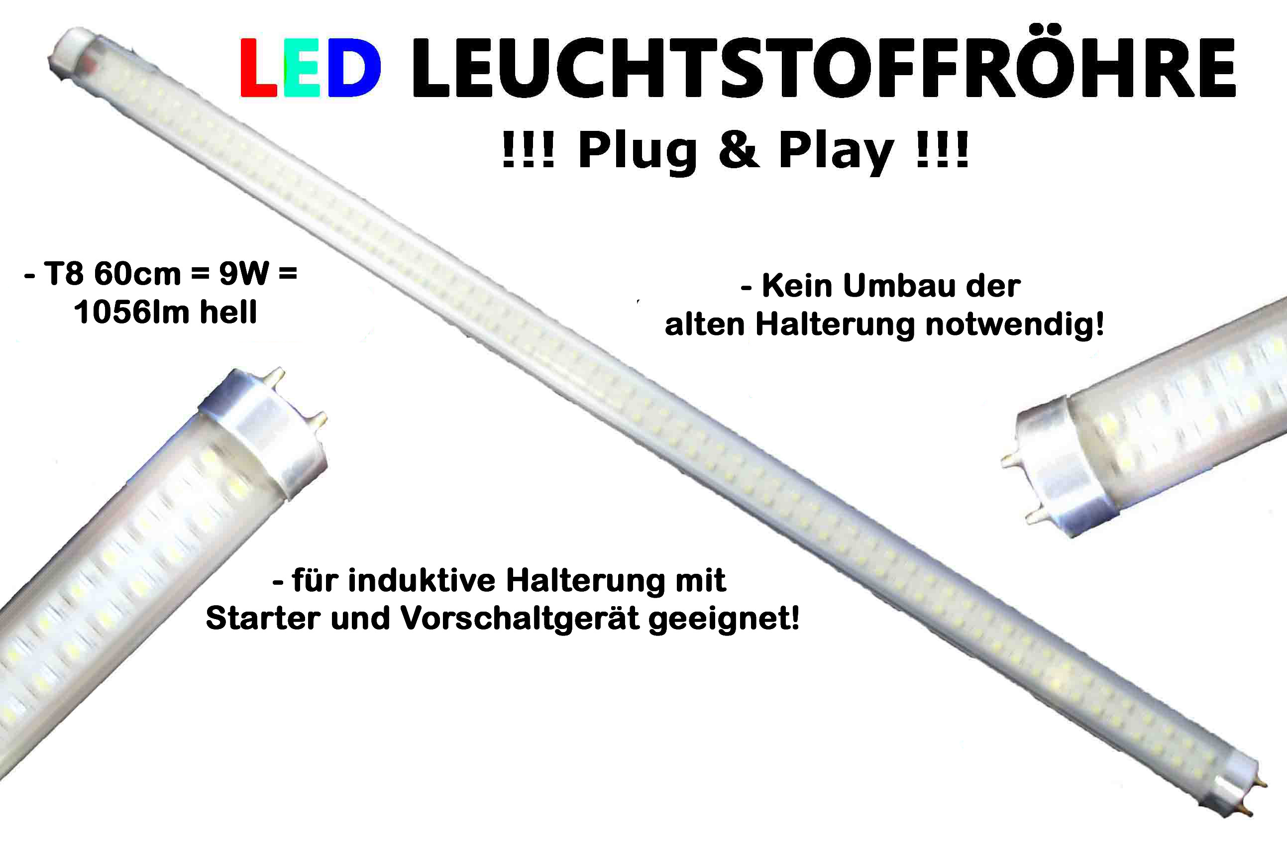 led r hre 60cm t8 g13 leuchtstoffr hre 9w 1056lm weiss kein umbau n tig ebay. Black Bedroom Furniture Sets. Home Design Ideas