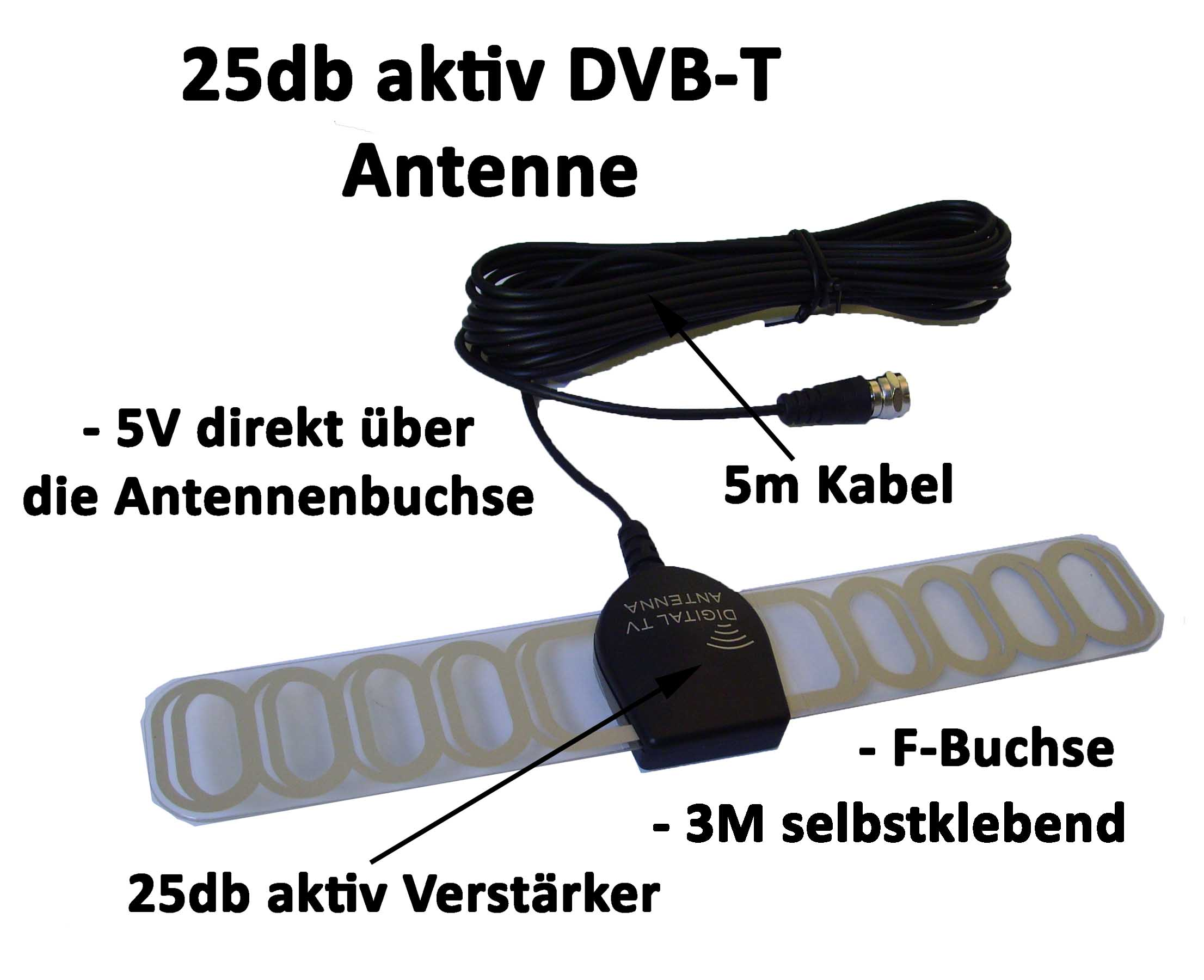 25db dvb t aktiv antenne f buchse 5v auto kfz booster. Black Bedroom Furniture Sets. Home Design Ideas